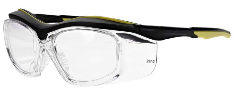 Model RX-F10 Black/Yellow With Clear Side Shields plastic safety glasses RX-F10-CLR