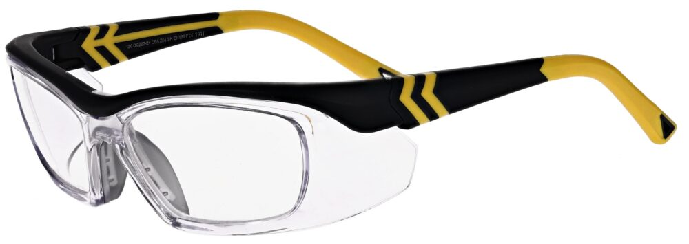 OnGuard Model OG-225S Prescription Safety Glasses in Matte Black/Yellow OG-225S-MBKYL