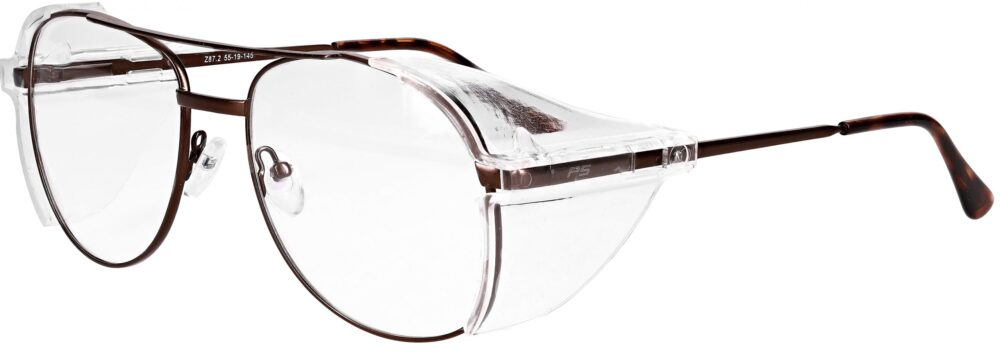 Model RX-100 Metal Safety Glasses in Brown. Available in 2 sizes RX-100-BN