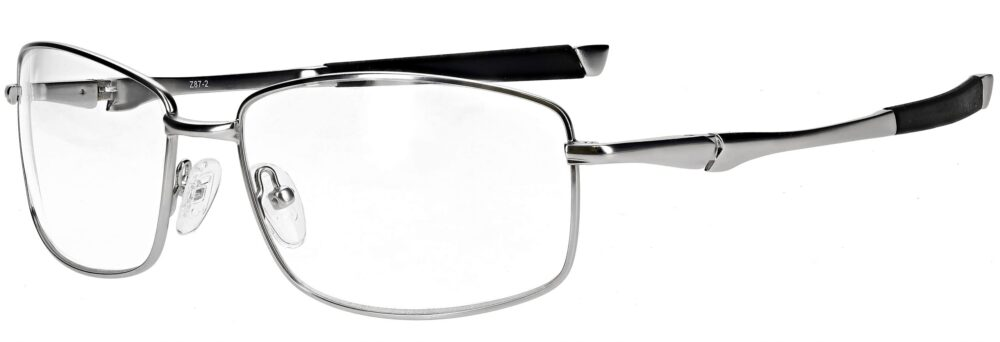 Model RX-116 metal safety glasses in silver RX-116-S