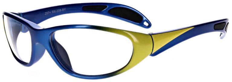 Plastic prescription wraparound safety glasses RX-208 in blue/yellow