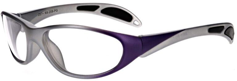 Plastic prescription wraparound safety glasses RX-208 in purple/grey