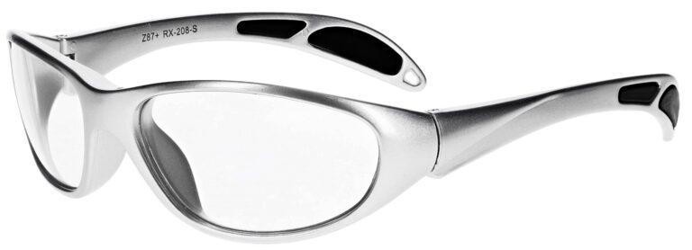 Plastic prescription wraparound safety glasses RX-208 in silver