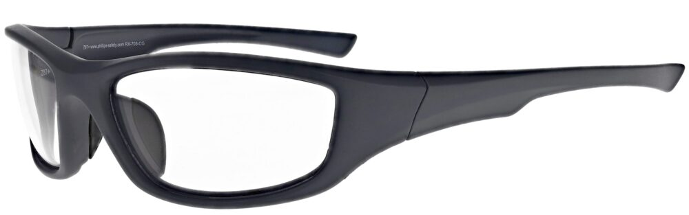 Prescription Wraparound Safety Glasses RX-703-CG in Charcoal Blue Grey