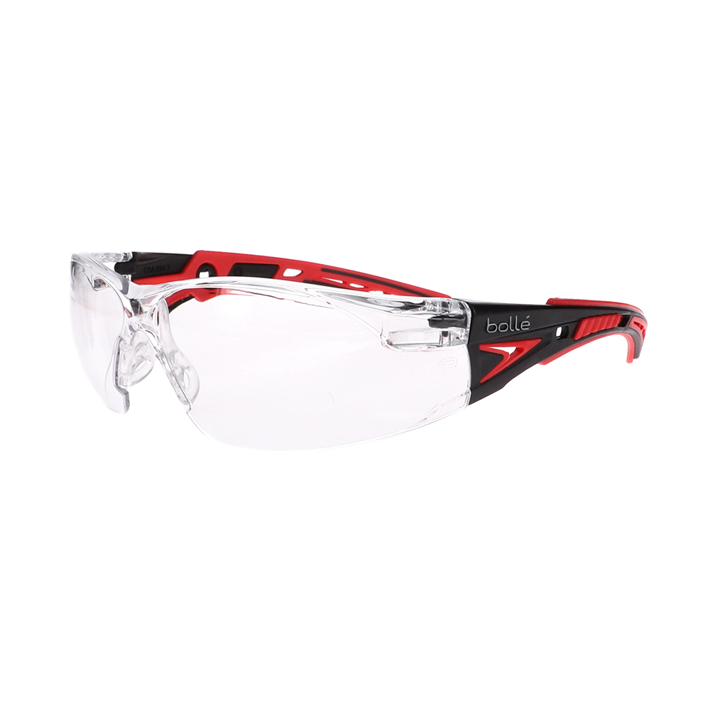 Bolle Rush+ Black/Red Clear Safety Glasses BO-RUSH+-41080
