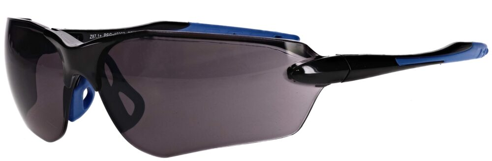 Non-prescription safety glasses with smoke grey lenses PSG-15003-BKS